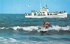 Virginia Beach Virginia surfer cruise boat in background vintage pc (Z8744)
