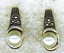 """925 Sterling Silver Pearl & Marcasite Stud Earrings Length 5/8"""""""