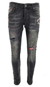 Mens Black Paint Splatter Stretch Patchwork Distressed Ripped Jeans Denim Jeans