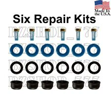 6X Fuel injector repair kit (seals Filters o-rings caps) for Chevy Buick Hummer