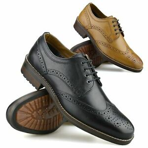 Mens Leather Brogues Smart Casual Lace Up Oxford Work Office Brogue Shoes Size
