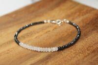Natural Black Spinel n Moonstone Faceted Gemstone Beaded Bracelet Silver Clasp