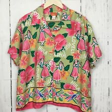 Hearts Of Palm Size 14 Hawaiian Shirt Hula Dancer Aloha Button Front Green Pink
