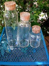 3 CYLINDER TUBE Glass Tall Apothecary Pharmacy Medicine Bottles Jars & CORKS #1