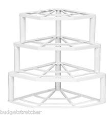 Nuevo 4 nivel Placa de esquina apilador Storer Rack de almacenamiento sostenedor del soporte de plástico blanco