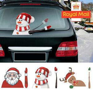 Christmas Car Window Waving Santa Claus Tags Decals Wiper Stickers Xmas Decor