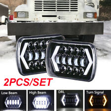 "2x 7X6"" 5X7"" LED Headlights DRL For International 5900i 7300 7400 9200 9400 9900"