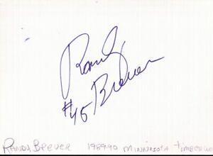 Autographed Index Card - Randy Breuer Milwaukee Bucks Minnesota Timberwolves Ctr
