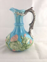 Vintage Beautiful Blue Floral Ewer Embossed Pitcher Signed by Artist