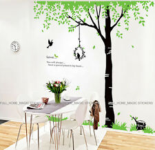 Giant Green Tree & Birds Removable Wall Stickers Vinyl Art Decal Mural Wallpaper