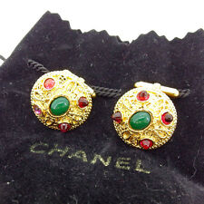 Chanel cuffs Gold Green Woman Authentic Used Y6412