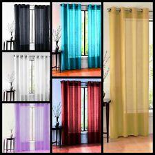 2Pc Solid Sheer Voile Panel Indoor Wedding Grommets Window Curtain
