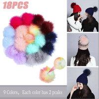 18PC DIY Faux Fur Fluffy Pompom Ball for Hats Shoes Scarves Keychains Bag Charms