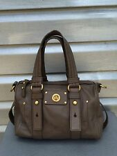 MARC JACOBS Totally Turnlock Taupe Leather Baguette Handbag
