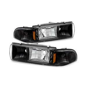 1991-1996 Chevy Impala SS Caprice Black LED DRL Corner Signal Headlight Headlamp