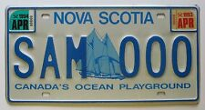 Nova Scotia 1994 SAMPLE License Plate SUPERB QUALITY # SAM 000