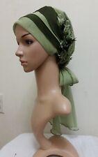 Fancy Hijab Bonnet Scarf Tichel Lady Turban Chiffon Chemo Style Pickle Green