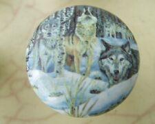 Ceramic cabinet Knob 00001E70 s Knob w/ Wolf Pack #5 Wildlife wolves