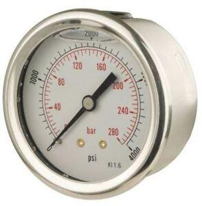63mm Pressure Gauge - Glycerine Filled Back Entry 1.6% Acc