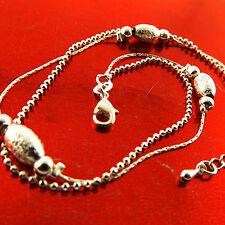 Fsa768 Genuine Real 925 Sterling Silver Sf Ladies Bead Design Xl Bracelet Anklet