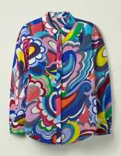 Boden silk shirt - BNWT - blue painted paisley - size 14- rrp 110.00