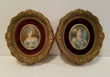 Pair of Vintage Cameo Picture Frame Victorian Ladies