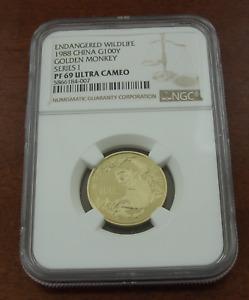 China 1988 Gold 100 Yuan NGC PF69UC Golden Monkey