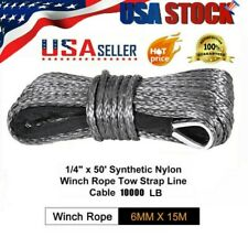 "1/4""x 50' Synthetic Winch Rope Line Cable For 4WD SUV Pickup 8000/8200/10000 LB"