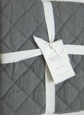 Pottery Barn Belgian Flax Linen 1 Stand Sham Diamond Quilted Charcoal Gray NEW