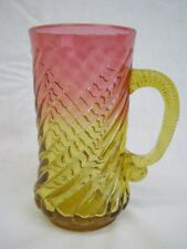 Scarce Late 19th Century Amberina Tumbler / Mug With Spiraled Applied Handle