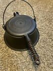 1910 Wagner Ware No. 8 Cast Iron Waffle Maker with Tall Base & Wire Handle