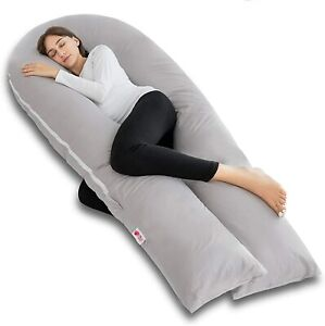 Meiz Full Body Pregnancy Pillow - with 300TC Comfy 65 Inch, Light Gray