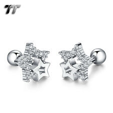 TT Silver Surgical Steel Multi CZ Star Cartilage Tragus Earrings (TR34S) NEW