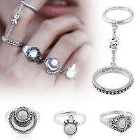 5Pcs/Set Vintage Silver Stack Plain Above Knuckle Ring Midi Finger Rings Jewelry