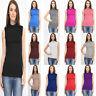 Women's Ladies Sleeveless Polo Turtle High Neck T-Shirt Top Plus Size 8-26