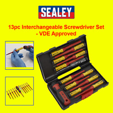 Sealey Tools Screwdriver Set 13pc Interchangeable Blades Electrical VDE Approved