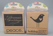 Christmas Mounted Wooden Rubber Stamps Holiday Seasons Greetings Ditto New