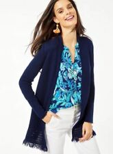 $128 NEW Lilly Pulitzer NOBLE FRINGE CARDIGAN True Navy Open Front S