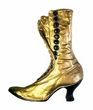 Gold Victorian Ladys Boot Shoe Wall Plaque