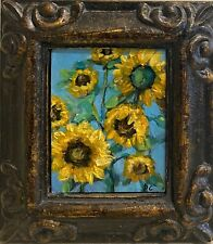 MINIATURE Original FRAMED Painting Beth Capogrossi SIGNED Sunflowers Mini ACEO
