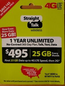 Straight Talk Unlimited Plan 365 Days $495 Card 25 GB 4G LTE At High Speed USA
