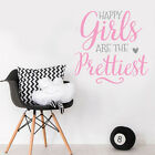 Happy Pretty Girls Quote Little Baby Pink Nursery Bedroom Wall Sticker Decor