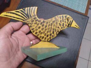 """Marvin Finn (1913-2007) """"Yellow Bird"""" Wood Sculpture 1987 Kentucky Folk Art"""