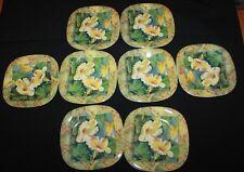 Lot of 8 Keller Charles Melamine Hibiscus Design Stacking Appetizer Plates 5-1/4