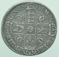 More details for 1681 charles ii 4th bust crown, t.tertio, british silver coin avf