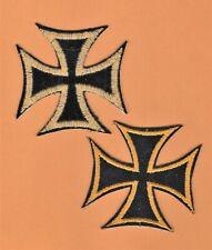 VINTAGE MALTESE CROSS JACKET PATCH - LOT of 2 *Black + Gold *Biker *Sewing