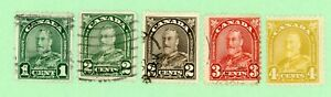Canada 5 stamps, SC 163 - 164 166 - 168,  KGV Arch Issue, 1930,  used