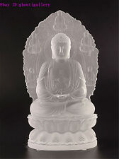 White Color Shakya Muni Buddha Crystal Sculpture Art Glass Statue