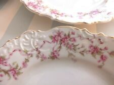 Silesia*Prussia*4 Salad Plates* Pink Flowers and Ribbons*Scalloped Edges*Pretty!