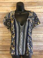 Womens Lucky Brand Short Sleeve Shirt Size Large Blouse V-neck Casual Blue Boho